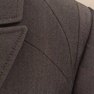 Tahari slate gray pantsuit detail stitching  s 10
